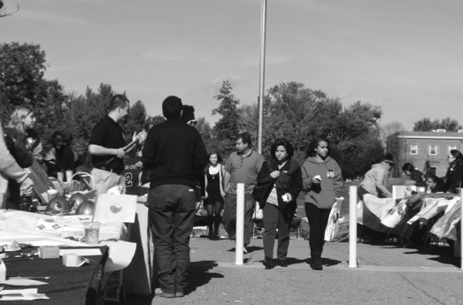 Organizations at LIU Post set up their tables last weekend. By Tia-Mona Greene