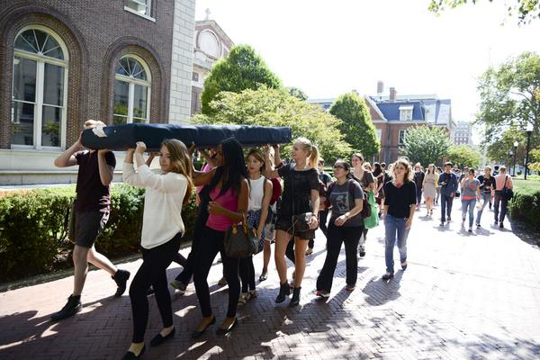 Columbia co-eds carry mattress cross-campus to send a message about sexual violence. Photo courtesy of Jessica Valenti