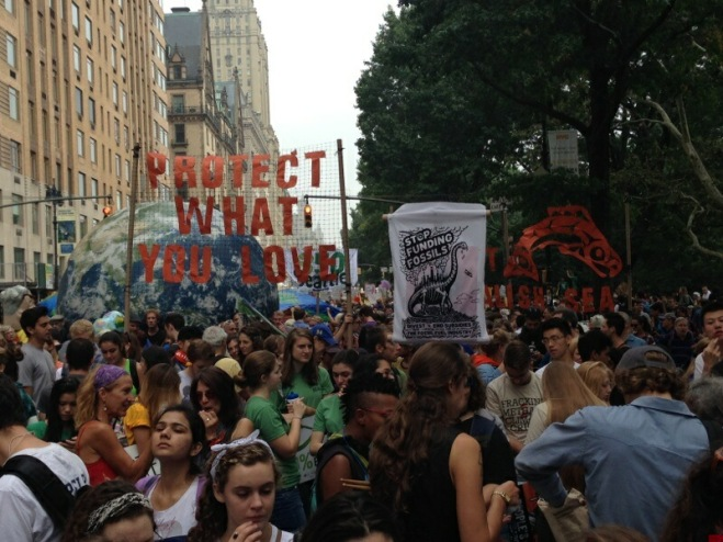 Thousands of marchers crowd the streets of New York City for the People's Climate March