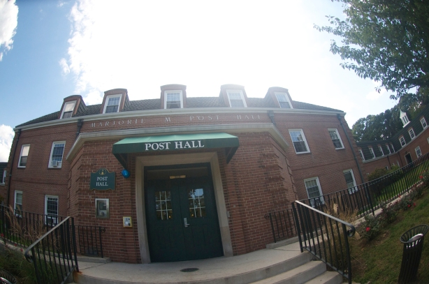 A shot of Post Hall, one of the many residence halls on campus