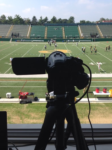 A view from the press box at the newly renovated Bethpage Federal Credit Union Stadium.