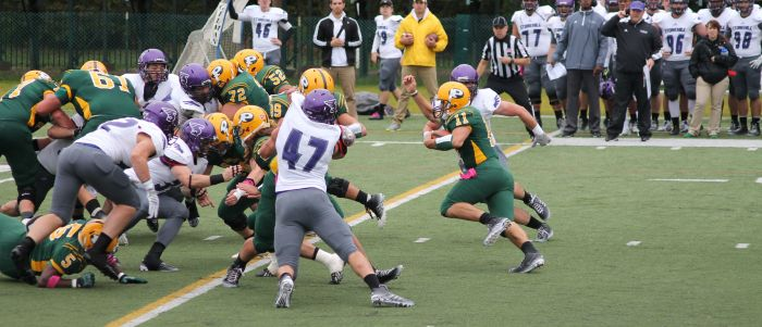#11 Steven Laurino plunges into the Stonehill defense