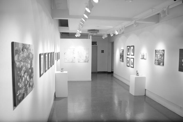 The exhibit showcasing Li and Hoff's artwork