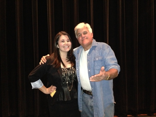 Jay Leno poses with The Pioneer's Co-Editor-in-Chief, Alyssa Seidman