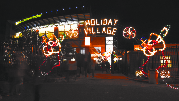 A holiday light display located outside of the Nikon Theatre at Jones Beach