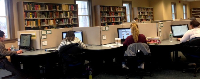 Students brave the cold to study for their Winter Session courses in the B. Davis Schwartz Memorial Library