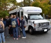 Commuter students board the Ocelot shuttle bus. Photo credit: Janisha Sanford