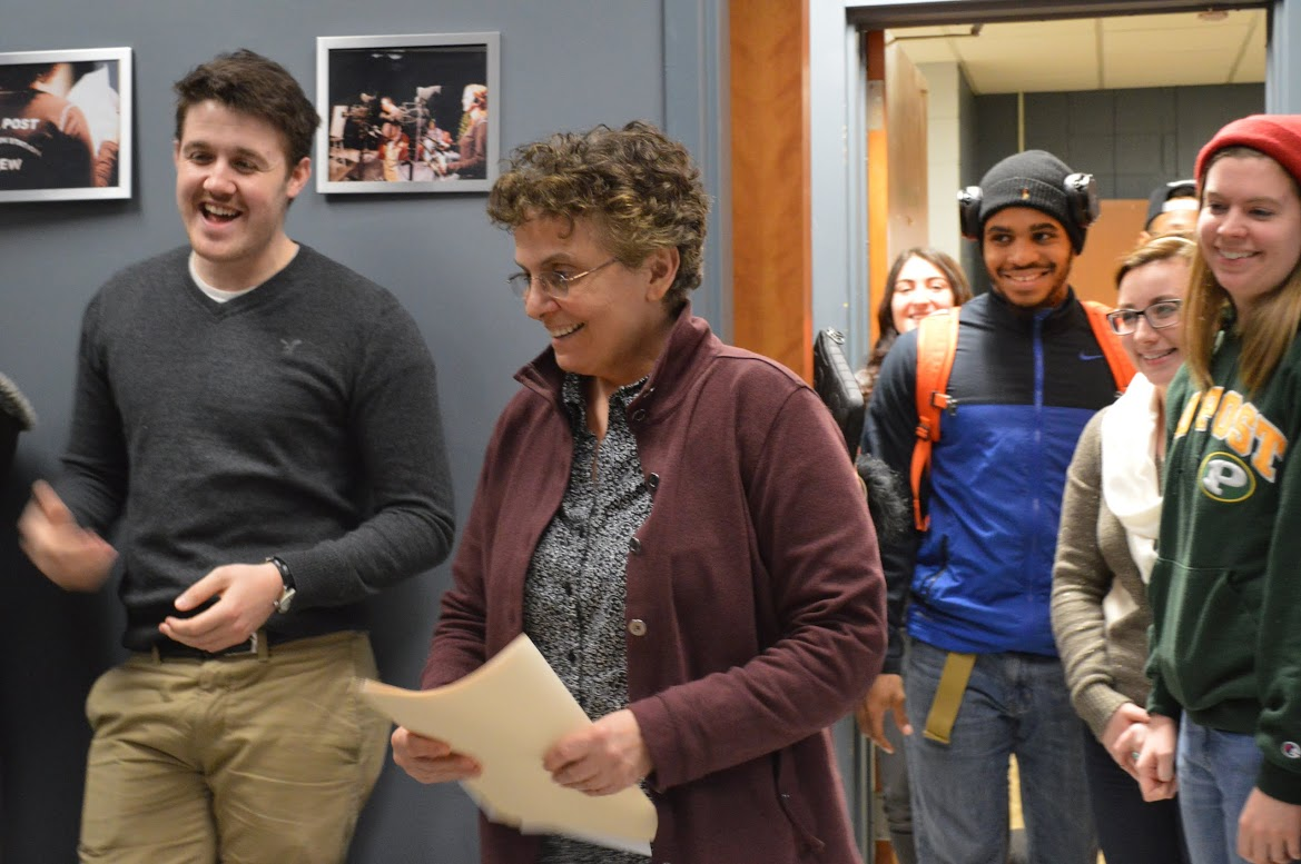 Professor Jean Carlomusto pictured with her Media Arts students. Photo by Ipshita Kaul