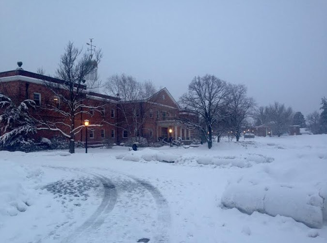 Humanities Hall after the onset of yesterday's snowfall.  Photo by Alyssa Seidman
