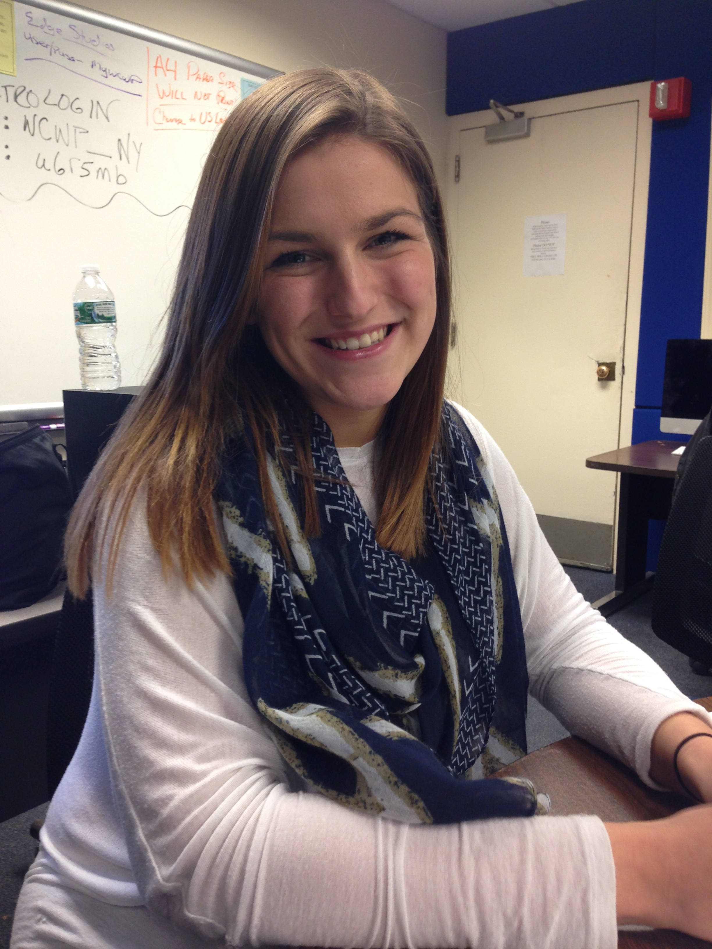 """""""When I was in my core classes, I would definitely make up excuses not to go because I didn't really care about them as much as I do now."""" -- Stephanie Ruhle, senior Broadcasting major Photo: Alyssa Seidman"""