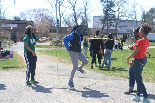 Students skip into springtime during Spring Fling week. Photo: Tia-Mona Greene