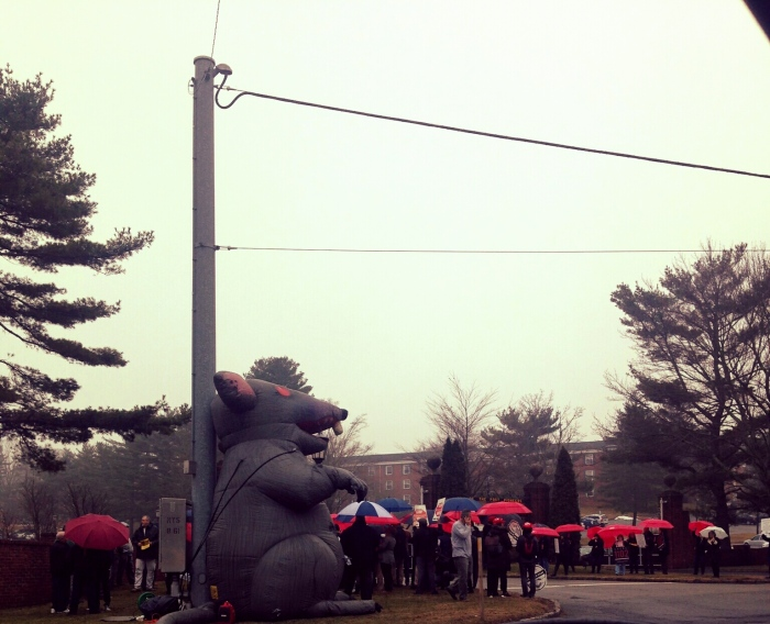 Protestors display a giant inflatable rat outside of campus to fight for fair contracts. Photo: Melissa Colleary