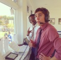 Deandre Wilson and Michael Nicosia calling the plays at multiple sports games.  Photo courtesy of Michael Nicosia