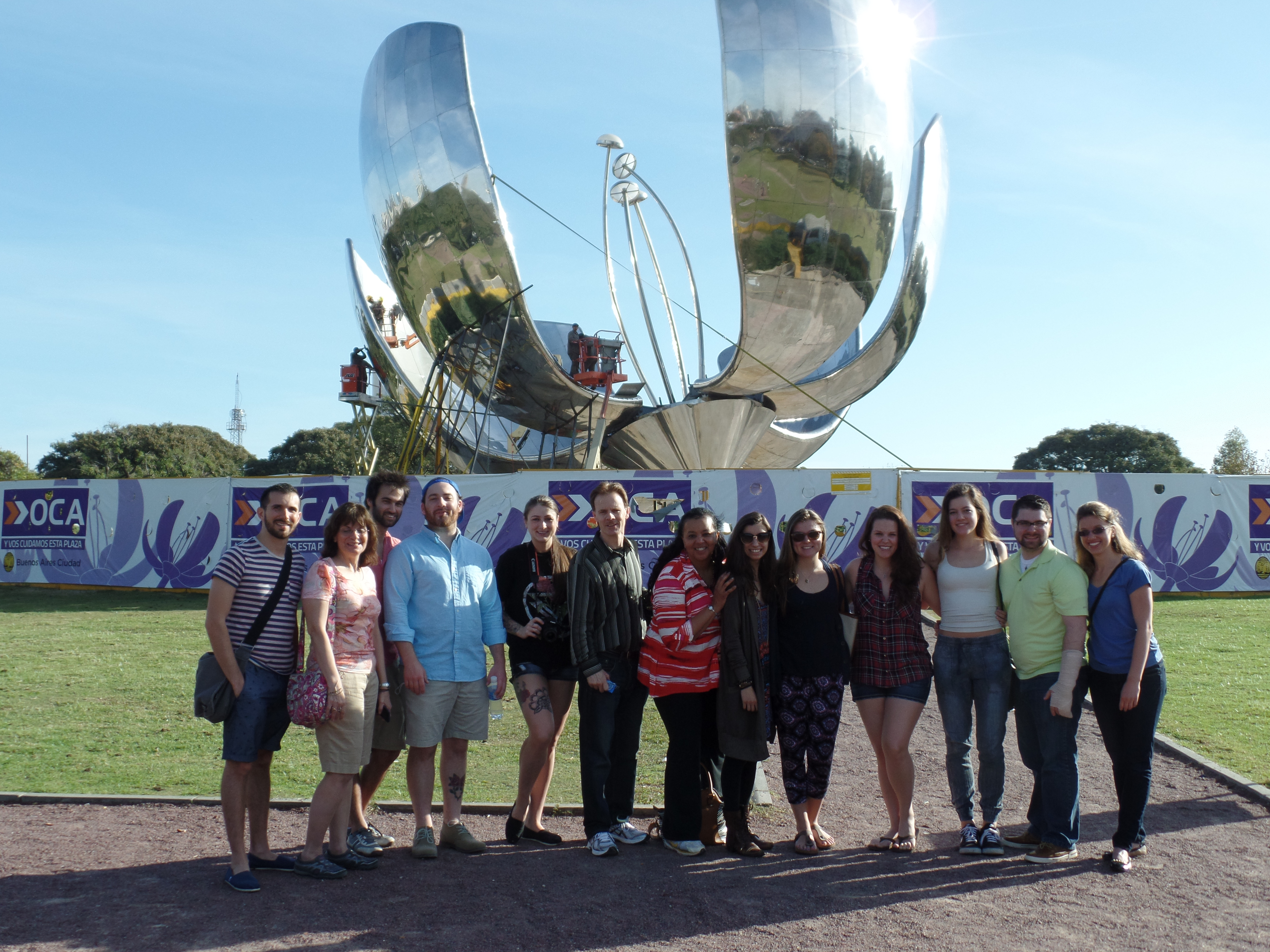 Some of the gang posing in front of the Flower Sculpture in Buenos Aires