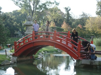Students and Faculty enjoy crossing over the red bridge